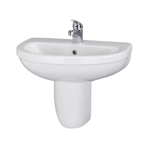 Ivo 550mm Basin & Semi Pedestal - 1 Tap Hole
